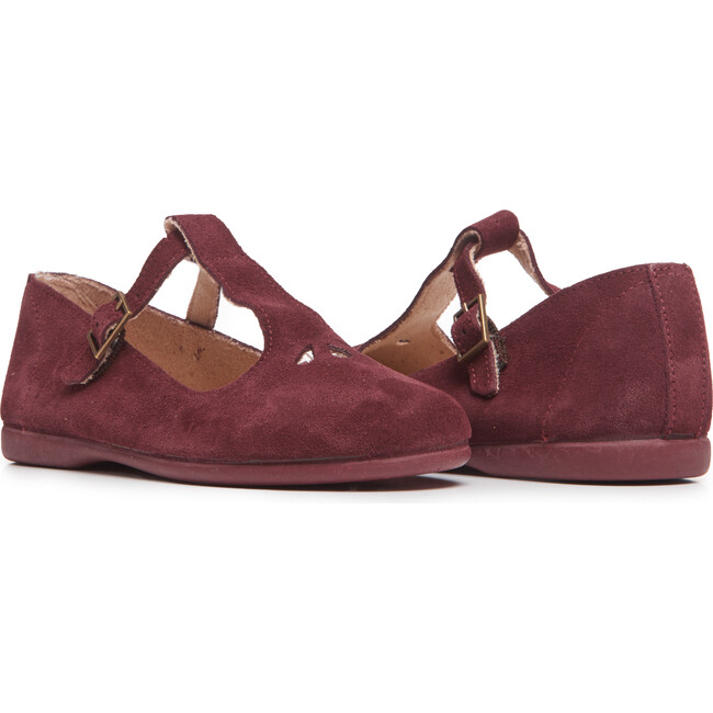 Suede Spectator Mary Janes, Burgundy