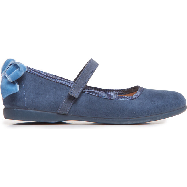 Suede Bow Mary Janes, Navy