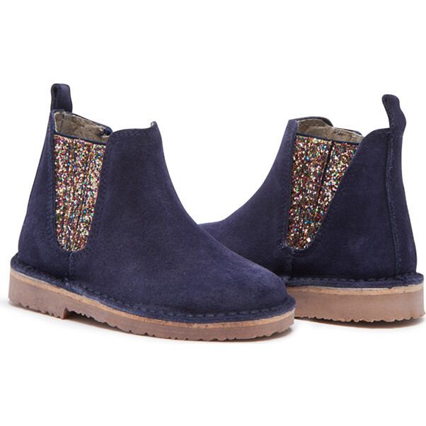 Suede Chelsea Boots, Navy & Sparkles