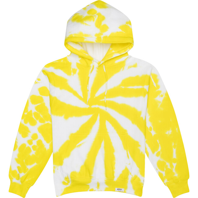 Adult Tie Dye Hoodie, Embroidered Yellow