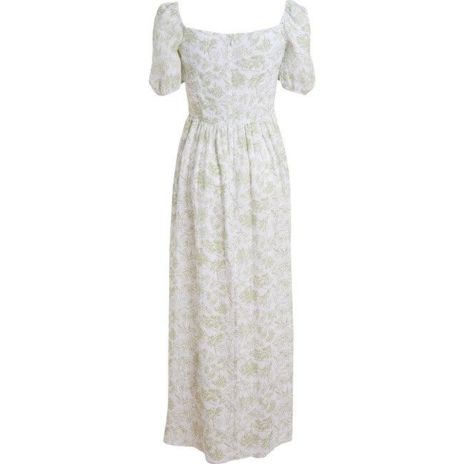 Women's Short-Sleeve Maxi Dress, Green Flora