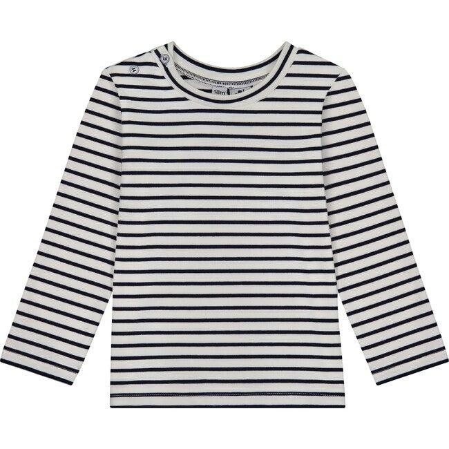 Henry Button Shoulder Long Sleeve Tee, Breton Navy Stripe