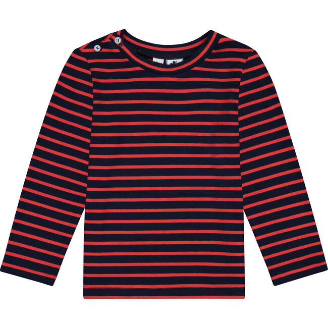 Henry Button Shoulder Long Sleeve Tee, Mini Red Navy Stripe