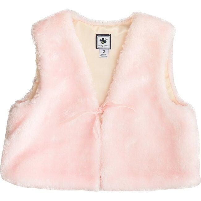 Ainsley Faux Fur Vest, Blush Pink