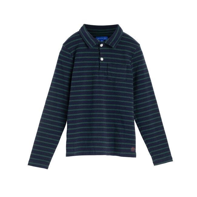 Finley Long Sleeve Polo, Navy & Evergreen