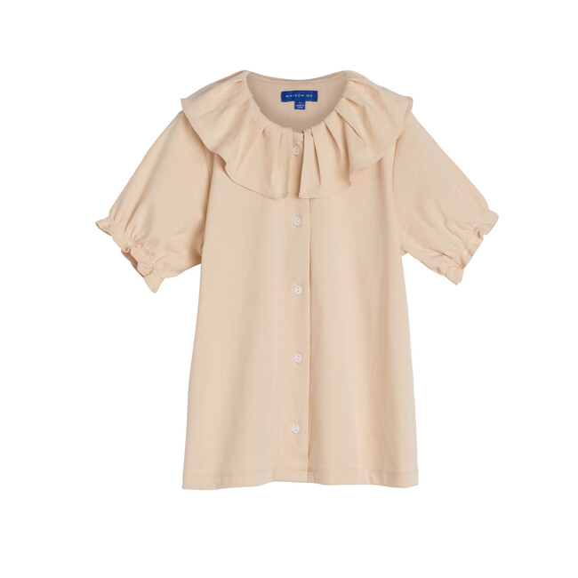 Lani Ruffle Collar Jersey Top, Cream