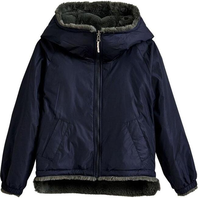 Habitat Faux Fur Reversible Jacket, Navy/Grey - Coats - 1