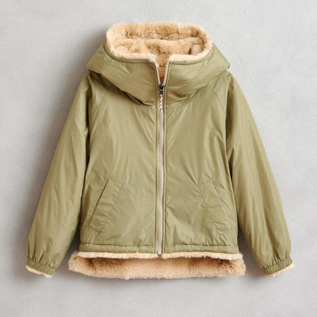 Habitat Faux Fur Reversible Jacket, Tan/Green