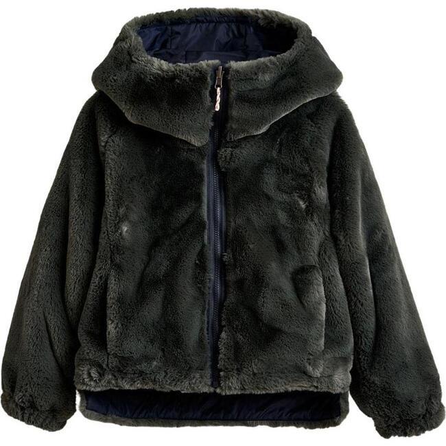 Habitat Faux Fur Reversible Jacket, Navy/Grey