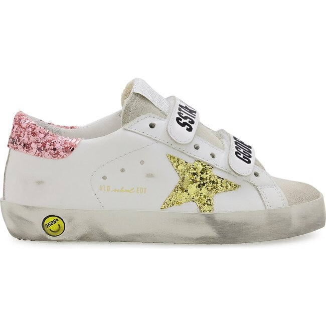 Old School Plain Glitter Leather Sneakers, Pink