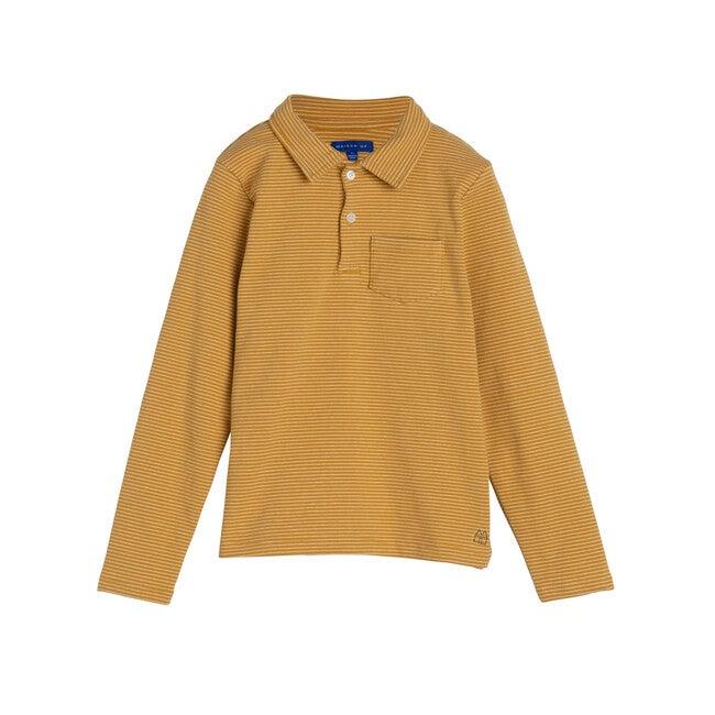 Finley Long Sleeve Polo, Mustard & White