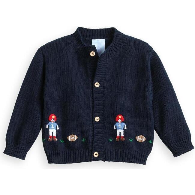 Applique Football Cardigan, Navy Knit
