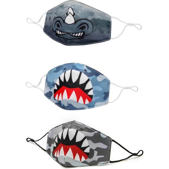 Camo, Shark, and Rhino 3 Pack Face Mask Set