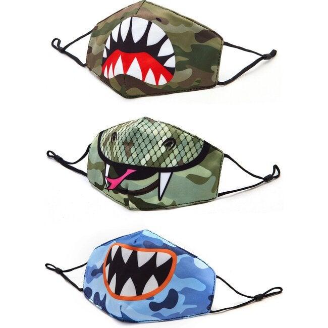 Camo, Shark, Snake, and Monster 3 Pack Face Mask Set