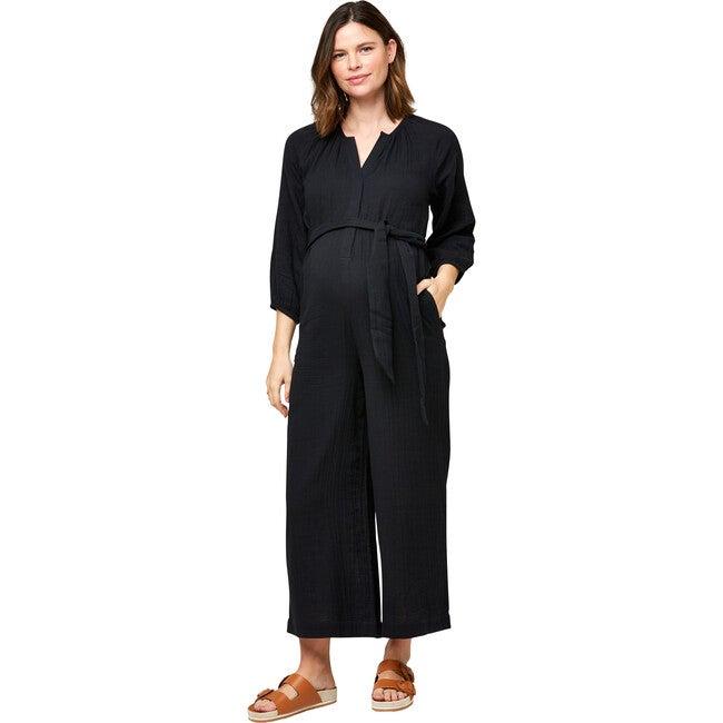 Women's Alma Cotton Gauze Nursing Jumpsuit, Black - Jumpsuits - 1