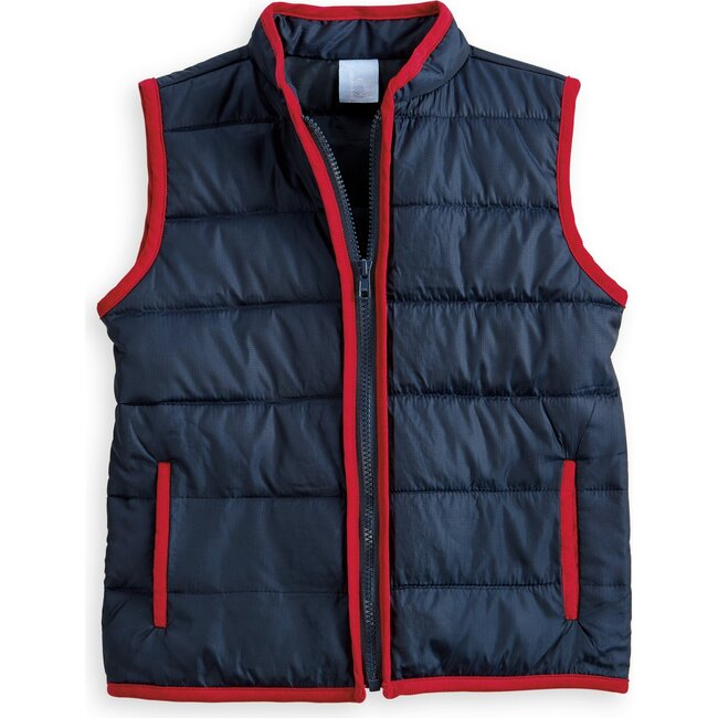 Puffer Vest, Navy with Red