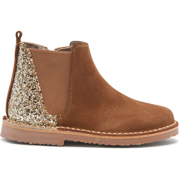 Suede Chelsea Boots, Gold & Sparkles