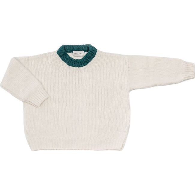 Women's Sweater,Bianco / Emerald