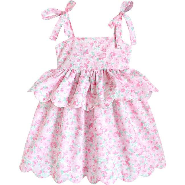 Scallop Peplum Petal Dress, Pink Cherry Blossom