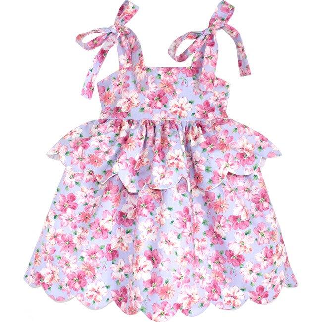 Scallop Peplum Petal Dress, Lavender & Pink Azaleas