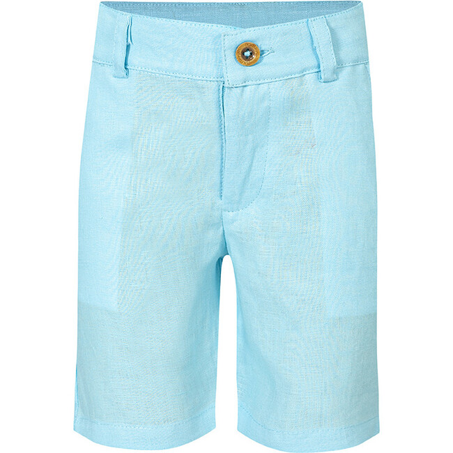 Linen Boy Shorts, Turqoise