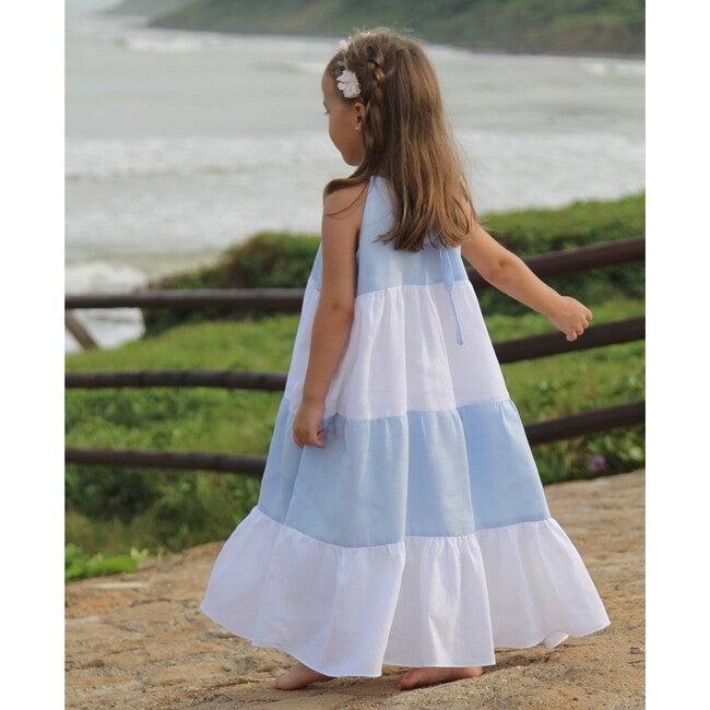 Halter Dress, White & Baby Blue