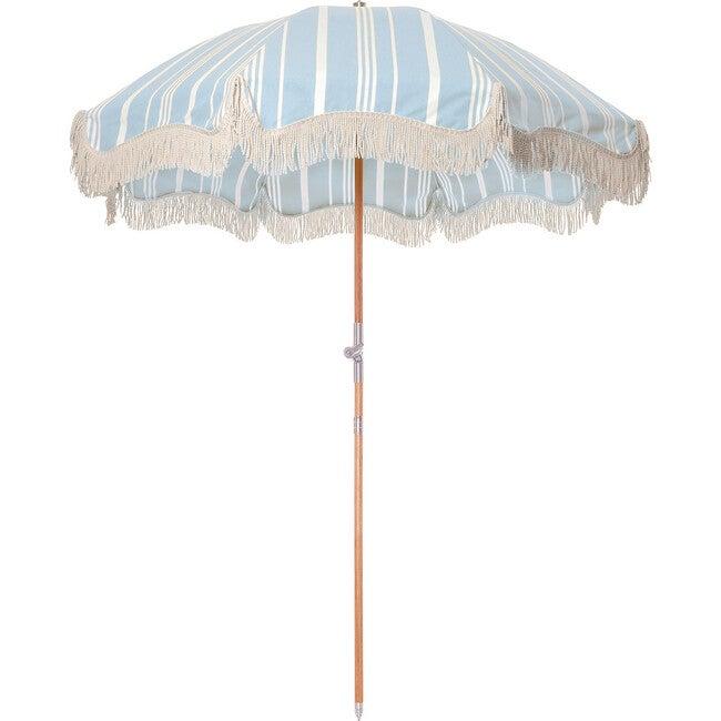 Premium Beach Umbrella, Vintage Blue Stripe