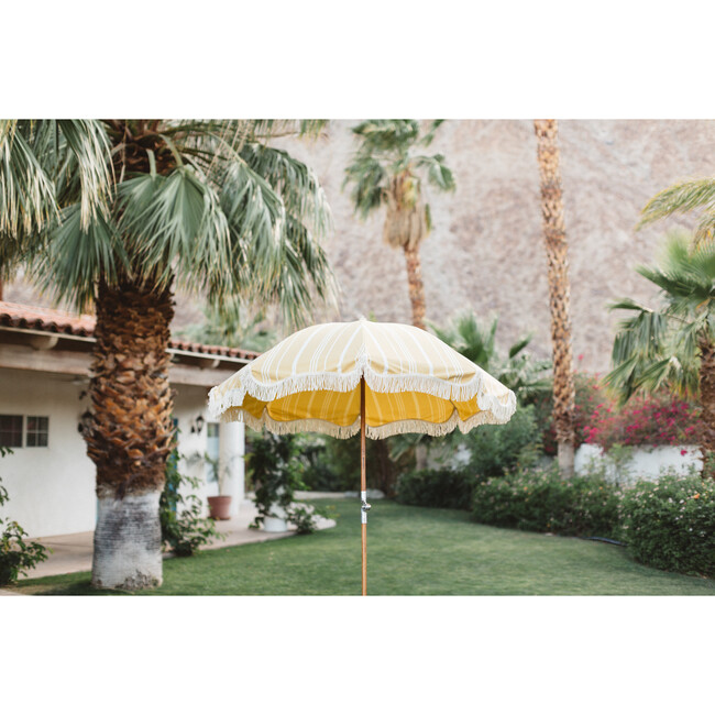 Premium Beach Umbrella, Vintage Yellow Stripe