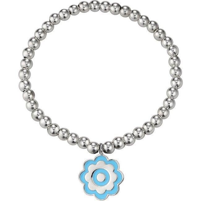 Silver Blue Flower Beaded Bracelet