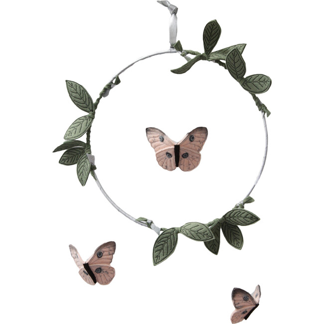 LUXE Butterfly Mobile in Blush, Silver & Green