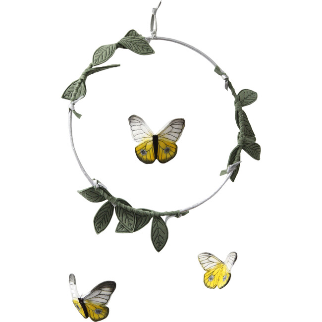 LUXE Butterfly Mobile in Yellow, Silver & Green