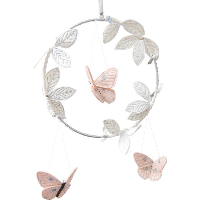 LUXE Butterfly Mobile in Blush Silver & White - Mobiles - 1