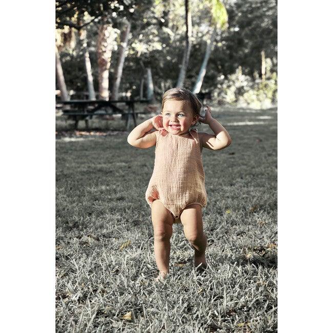 Inesita Baby Romper, Gauze Peach