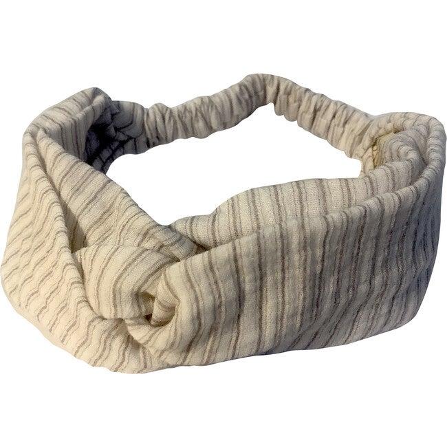 Belen Headband, Gauze Blue Stripes