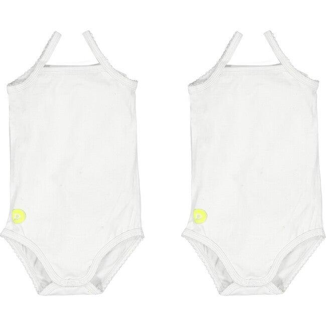 Baby Girl Sleeveless Onesie Set, White