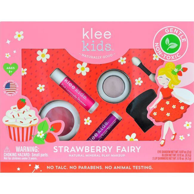 Strawberry Fairy 4-Piece Natural Play Makeup Kit with Pressed Powder Compacts