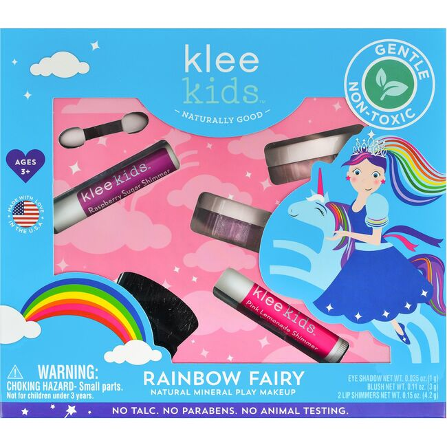 Rainbow Fairy 4-Piece Natural Play Makeup Kit with Loose Powder Makeup