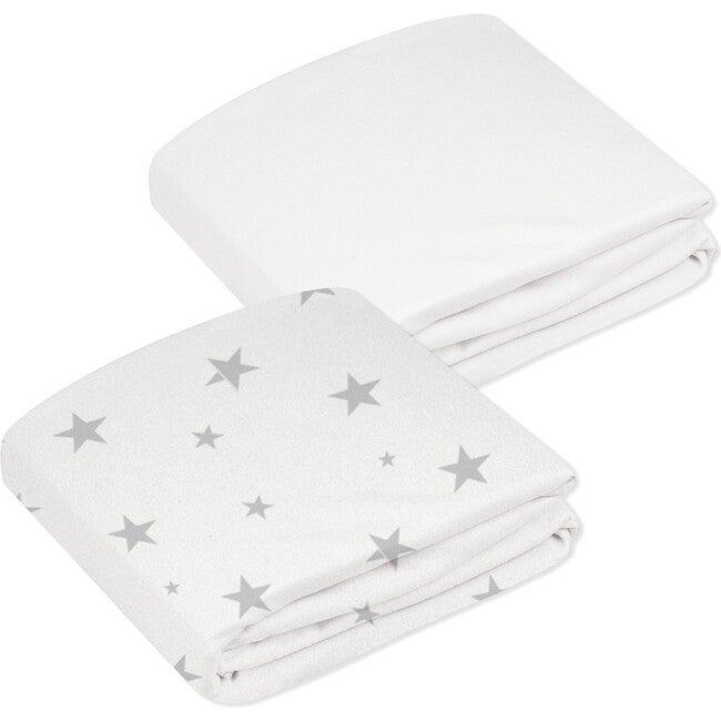 Organic 2 pack Crib Sheet, Grey & White Stars