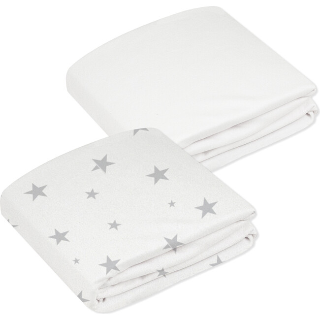 Organic 2 pack Crib Sheet, Grey & White Stars - Crib Sheets - 1