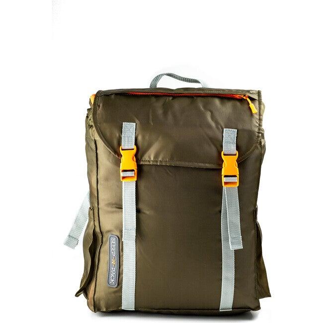 Sleep 'N' Pack Big Kids Sleeping Bag, Olive/Orange