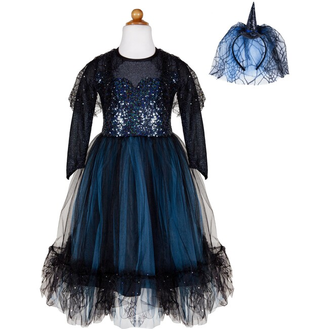 Luna The Midnight Witch Dress & Head Band, Teal/Black