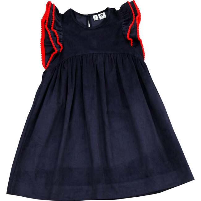 Zoe Ruffle Sleeve Dress, Navy Corduroy
