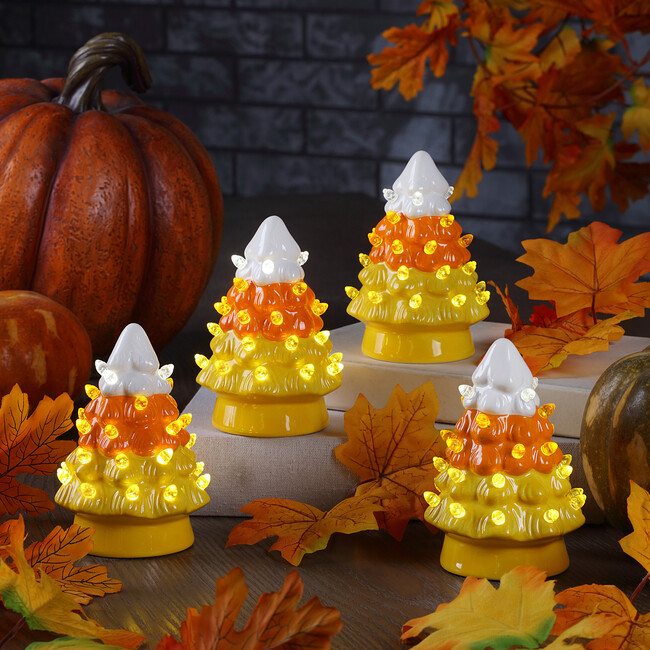Set of 4 Halloween Candy Corn Trees, Orange Stripe