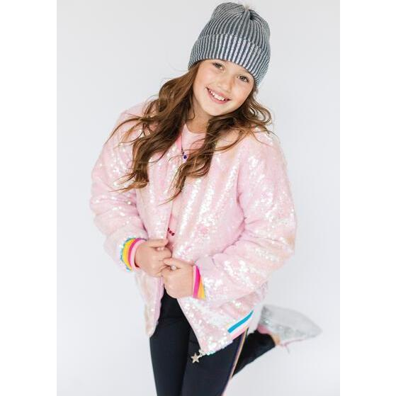 Sequin Quilted Bomber, Bubble Gum