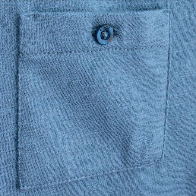 T-Shirt Long Sleeve Organic Cotton Back To Basics, Blue