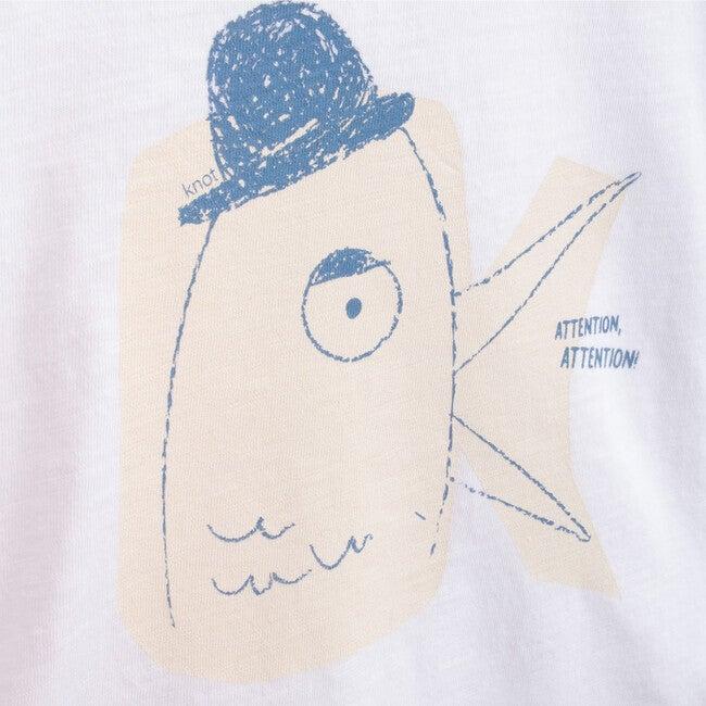 "T-Shirt Long Sleeve Organic Cotton ""K"" Attention, White"