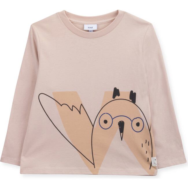 "T-Shirt Long Sleeve Organic Cotton ""W"" Owl, Pink"