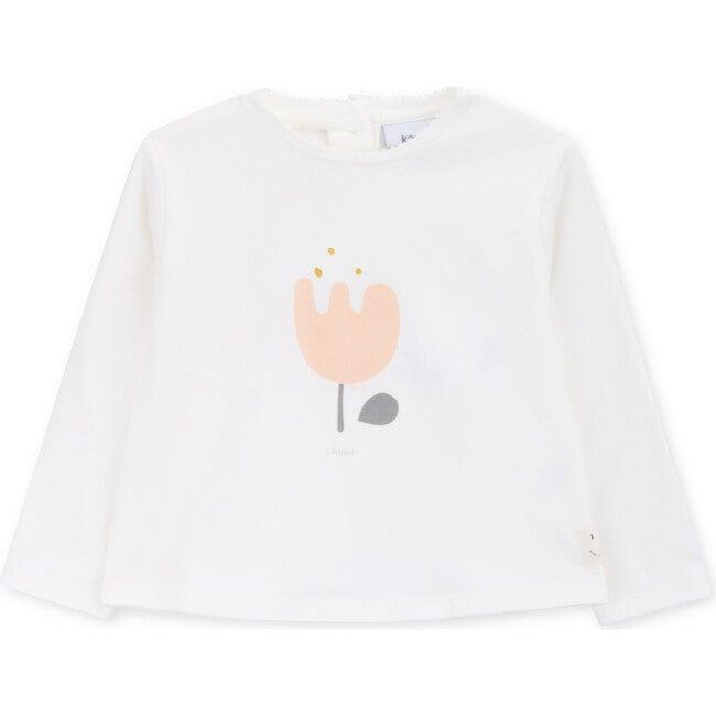 T-Shirt Long Sleeve Baby Organic Cotton A Flower, White