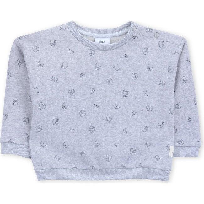 Sweatshirt Terry Baby Myna Birds, Grey