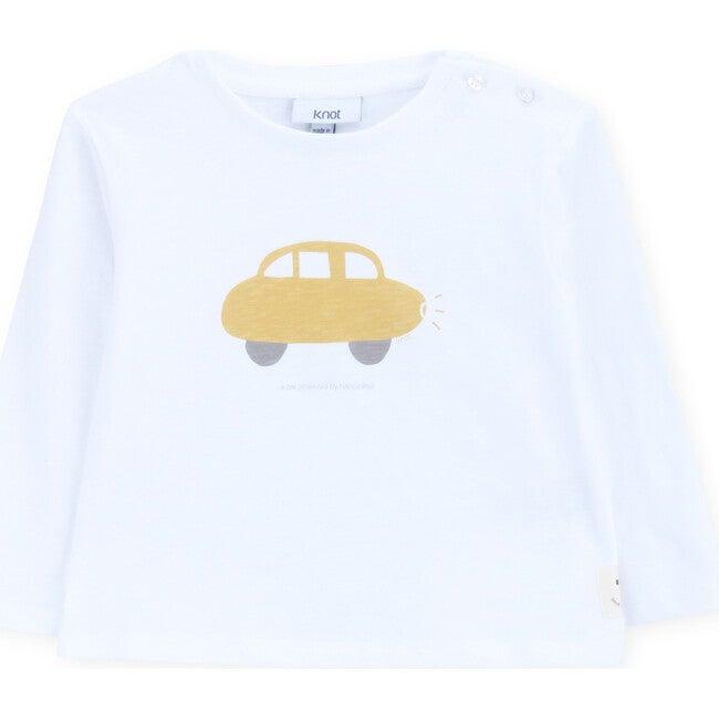 T-Shirt Long Sleeve Baby Organic Cotton A Happy Car, White